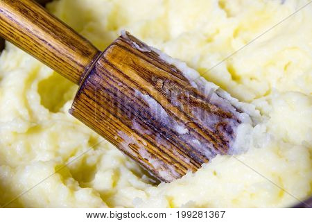 organic mashed potatoes home-made. Potatoes are harvested from the Chernozem of Russia is the most environmentally friendly place in the world