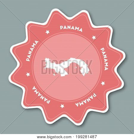 Panama Map Sticker In Trendy Colors. Star Shaped Travel Sticker With Country Name And Map. Can Be Us