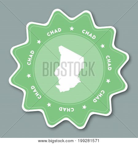Chad Map Sticker In Trendy Colors. Star Shaped Travel Sticker With Country Name And Map. Can Be Used
