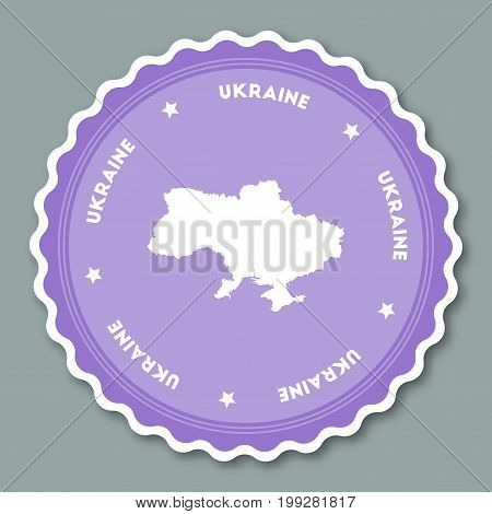 Ukraine Sticker Flat Design. Round Flat Style Badges Of Trendy Colors With Country Map And Name. Cou