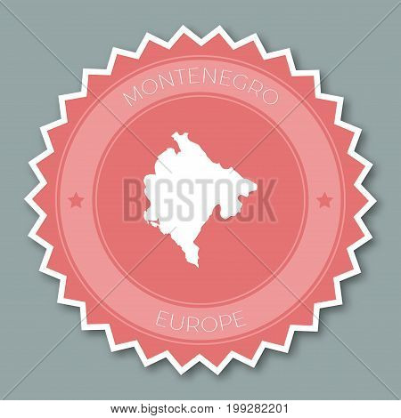 Montenegro Badge Flat Design. Round Flat Style Sticker Of Trendy Colors With Country Map And Name. C