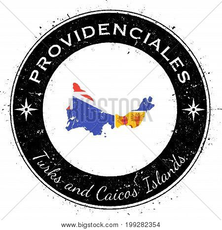 Providenciales Circular Patriotic Badge. Grunge Rubber Stamp With Island Flag, Map And Name Written