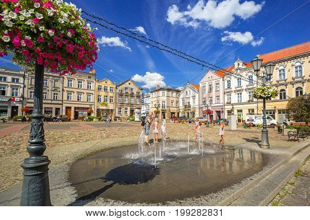 TCZEW, POLAND - AUGUST 8, 2017: Square in the old town of Tczew city in Poland. Tczew is a town at Vistula River in northern Poland.