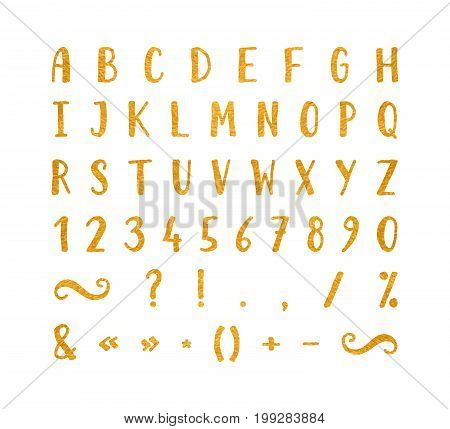 Handwritten bold gold font with punctuation marks on white background. Uppercase font contains question mark, exclamation point, period, comma, dash, hyphen, bracket etc. Vector illustration.