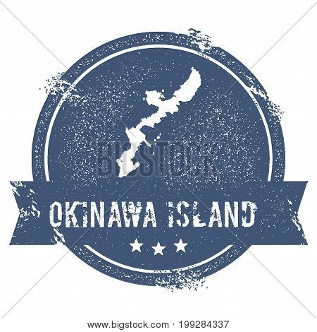 Okinawa Island Logo Sign. Travel Rubber Stamp With The Name And Map Of Island, Vector Illustration.