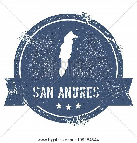 San Andres Logo Sign. Travel Rubber Stamp With The Name And Map Of Island, Vector Illustration. Can