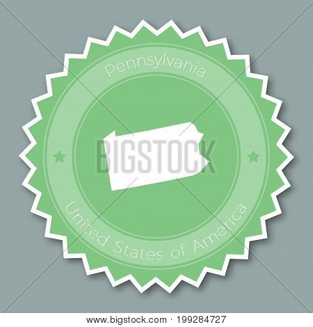 Pennsylvania Badge Flat Design. Round Flat Style Sticker Of Trendy Colors With The State Map And Nam