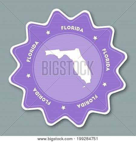 Florida Map Sticker In Trendy Colors. Travel Sticker With Us State Name And Map. Can Be Used As Logo