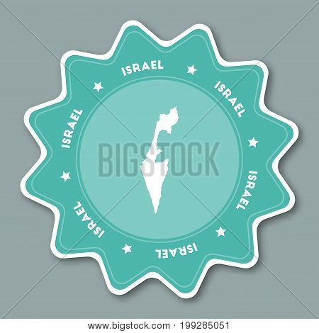 Israel Map Sticker In Trendy Colors. Star Shaped Travel Sticker With Country Name And Map. Can Be Us