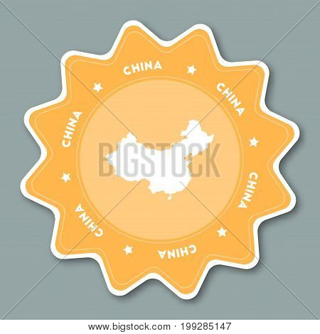 China Map Sticker In Trendy Colors. Star Shaped Travel Sticker With Country Name And Map. Can Be Use