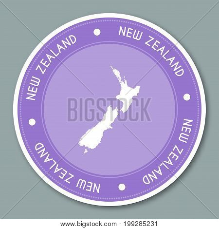 New Zealand Label Flat Sticker Design. Patriotic Country Map Round Lable. Country Sticker Vector Ill