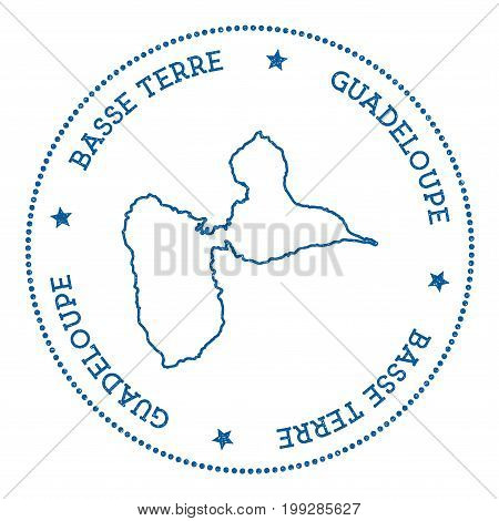 Basse-terre Island Map Sticker. Hipster And Retro Style Badge. Minimalistic Insignia With Round Dots
