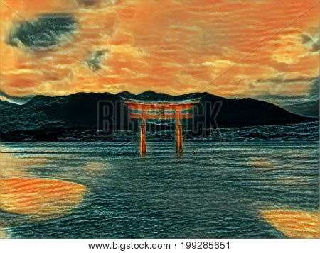 Digital painting of the floating tori gate at Miyajima Island near Hiroshima in Japan. Dramatic colorful orange sunset picture with space for text.