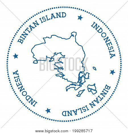 Bintan Island Map Sticker. Hipster And Retro Style Badge. Minimalistic Insignia With Round Dots Bord