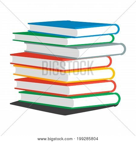 Vector colorful illustration of stack books or magazines isolated on white background