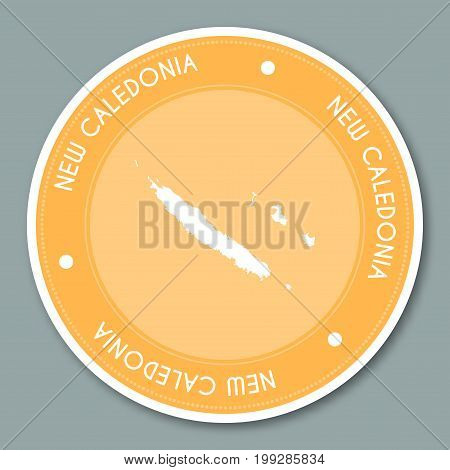 New Caledonia Label Flat Sticker Design. Patriotic Country Map Round Lable. Country Sticker Vector I