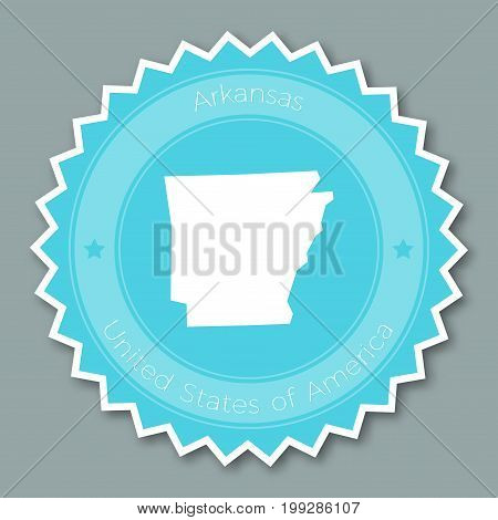 Arkansas Badge Flat Design. Round Flat Style Sticker Of Trendy Colors With The State Map And Name. U