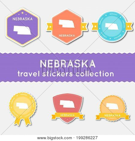 Nebraska Travel Stickers Collection. Big Set Of Stickers With Us State Map And Name. Flat Material S