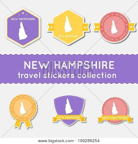 New Hampshire Travel Stickers Collection. Big Set Of Stickers With Us State Map And Name. Flat Mater