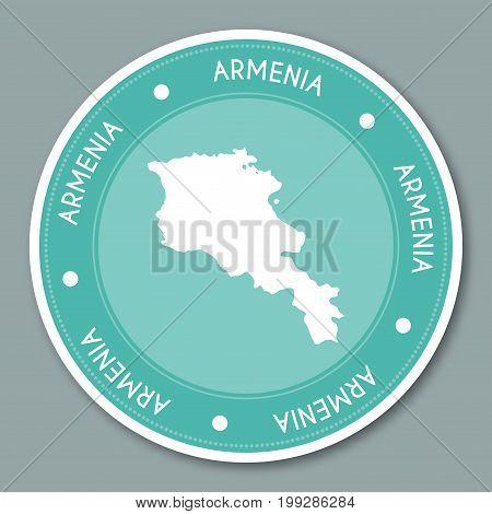 Armenia Label Flat Sticker Design. Patriotic Country Map Round Lable. Country Sticker Vector Illustr