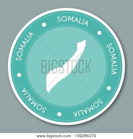 Somalia Label Flat Sticker Design. Patriotic Country Map Round Lable. Country Sticker Vector Illustr