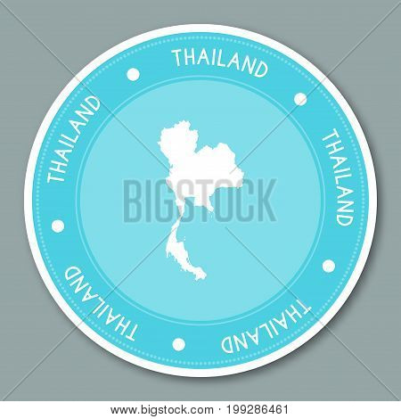 Thailand Label Flat Sticker Design. Patriotic Country Map Round Lable. Country Sticker Vector Illust