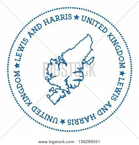 Lewis And Harris Map Sticker. Hipster And Retro Style Badge. Minimalistic Insignia With Round Dots B