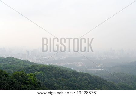 Landscape of the Guangzhou city from the mountain viewpoint