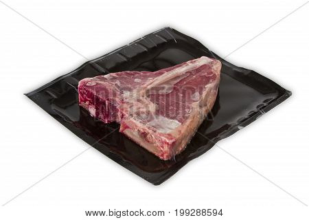 TBone steak in vacuum package isolated on white background