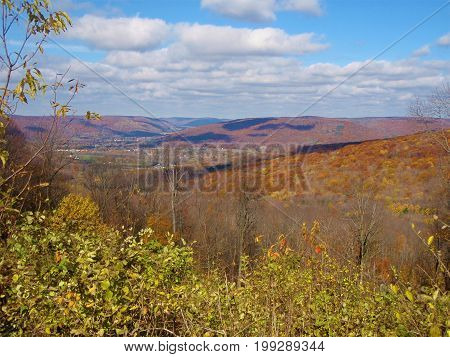 Hills in Allegheny NY on a sunny fall day