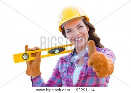 Young Female Construction Worker with Thumbs Up Holding Level Wearing Gloves, Hard Hat and Protective Goggles Isolated On White.