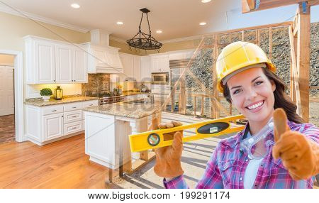Female Construction Worker In Front of House Framing Gradating to Finished Kitchen Photo.