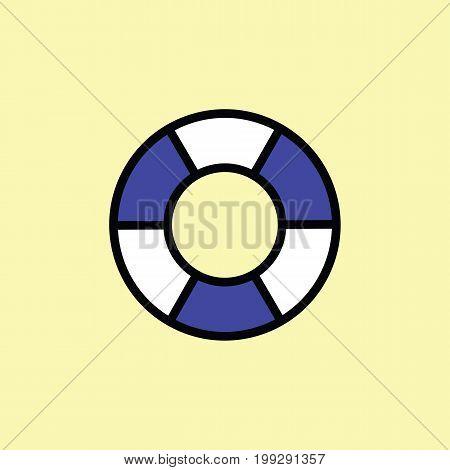 Lifebuoy Icon Thin Line Color