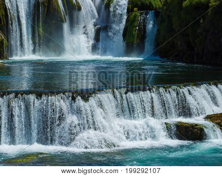 beautiful waterfal with clear wild drinking water strbacki buk in bosnia and herzegovina near city bihac
