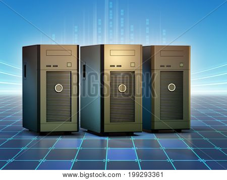 Group of desktop servers. 3D illustration.