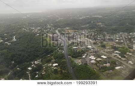 Aerial view of Guam seen from an airplane window