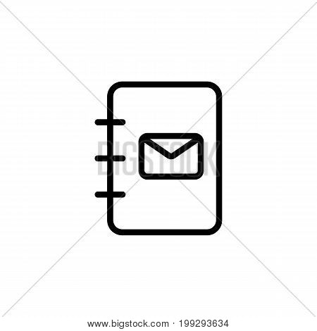 Line Phonebook, Contact Book Icon On White Background