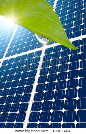 Concept Of Solar Panel And Leaf