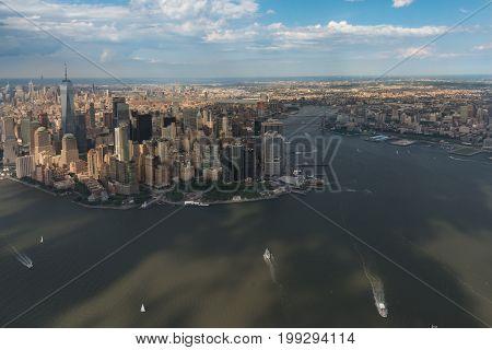 Aerial photo of Manhattan and Brooklyn. New York City.