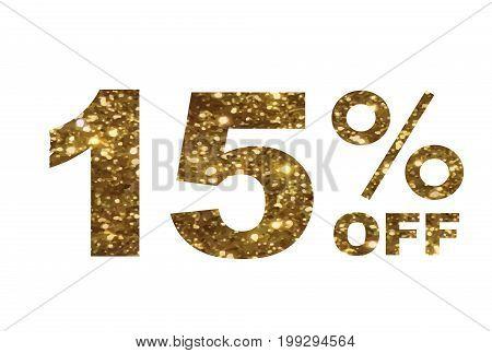Luxury Golden Glitter Fifteen Percent Off Special Discount Word Text