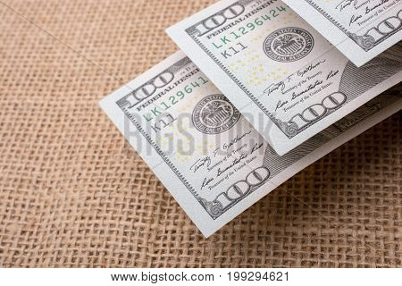 Banknotes Of Us Dollar On Canvas