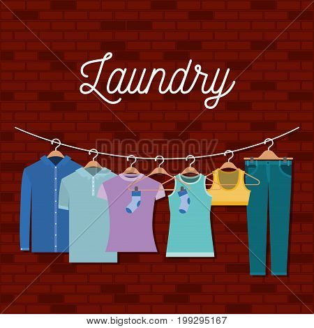 brick wall background of clothes in hangers vector illustration