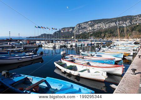 july 2016: city of garda marina lake of garda italy