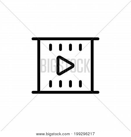Line Filmstrip Video Icon On White Background