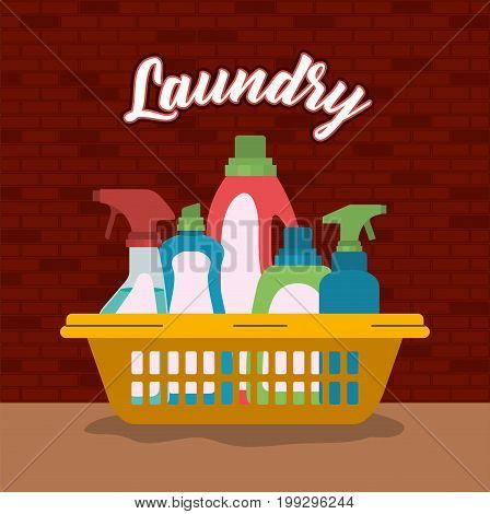 brick wall background of cleaning items laundry in basin plastic vector illustration