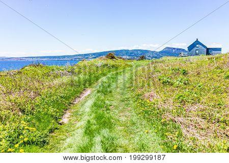 Trail By Ocean Cliff Coast On Bonaventure Island In Quebec, Canada By Gaspesie, Gaspe Region