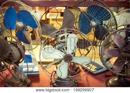 Group of Dirty old vintage metal fan in retro style