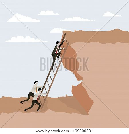 color scene rock landscape with business male people trying to climb stairs to the top vector illustration