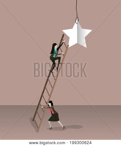 color background with businesswoman climbing wooden stairs to reach a star vector illustration