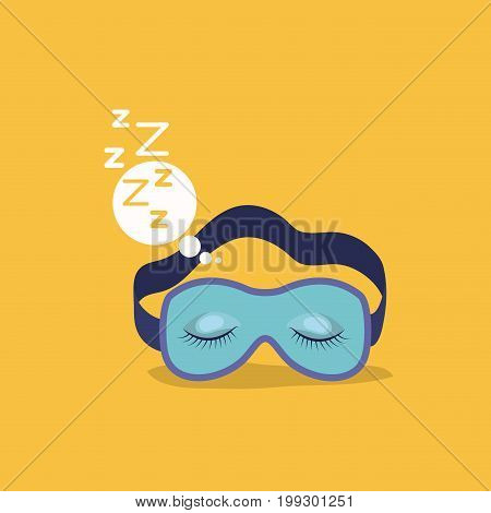 color background with sleep mask with snoring sign in bubble callout vector illustration